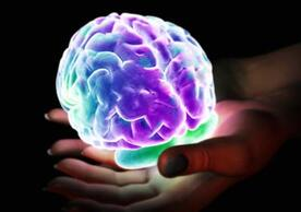 Glowing brain held by hands